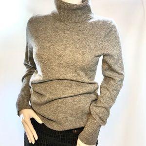 J Crew 100% Cashmere Turtleneck Sweater Grey